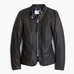 J. Crew Black Leather Jacket with Peplum Waist 2